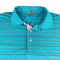 Peter Millar Summer Comfort Men's Golf Polo Shirt Size Large Blue Striped