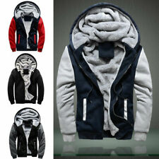 Mens Zip Up Jacket Outwear Boy Winter Warm Thick Tops Fleece Hooded Hoodie Coats