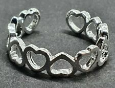 Shiny Hollow Heart Toe Ring Fully Adjustable UK 925 Silver Plated