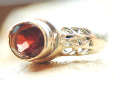 Silberring 56 Handarbeit Granat Funkeln Siegel Rot Ring Silber Filigran Floral
