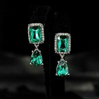 Earrings Clip On Silver Black Square Drop Green Emerald Marriage YW8