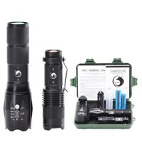 Zoomable 5000LM LED Flashlight Tactical Torch Light Camping Hiking Fishing+18650