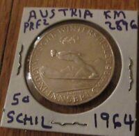 Austria 50 Schilling Silver Coin Proof 1964 Olympics Innsbruck - Ski Jumper # 2
