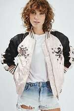 Topshop Pale Pink Contrast Embroidered Bomber Jacket UK 10 EURO 38 US 6 BNWT