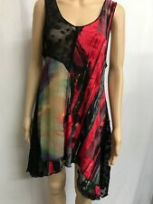 MOTTO SIZE 14, MADE IN AUST COLOURFUL ASYMMETRICAL TUNIC TOP