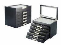LOOK 1-3029-6 Schwarze Design Holz Stifte Vitrinen Box Display Für 60 Füller