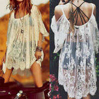 Boho Beach Sexy Strap Backless Lace Floral Crochet Mini Dress Kaftan Loose Tops