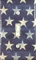 Decorative Single Toggle Light Switch Wall Plate Crackled American Flag Stars