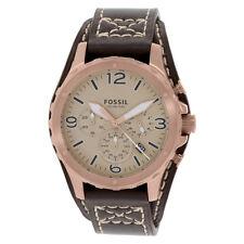 FOSSIL Uhr JR1495 NATE Rotgold Herren Chronograph Leder Braun Armbanduhr Datum