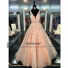 Blush Pink Wedding Dresses V-Neck Appliques Lace A Line Bridal Wedding Gowns New