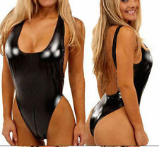 Black  Backless Vinyl Leather Lingerie Bodysuit Teddy One S Regular