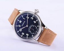 44mm Parnis 6498 Hand Winding Men's Watch Black Dial Silver Mark Leather Strap