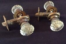 Vintage pair of Glass Door Knobs with back plates and hardware