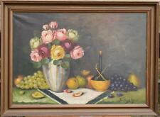 Oil/ CV - Old Signed Oilpainting - Still-life with Flowers and Fruits - No. 800