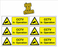 CCTV IN OPERATION STICKERS, 6 PACK building home office car bus van taxi coach