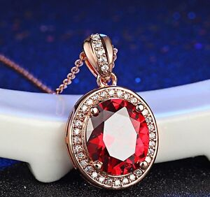 """18"""" Silver Red Solitaire Ruby Pendant Oval Rose Gold Plate Necklace Gift Box A25"""