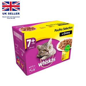 Whiskas 7+, Wet Food for Senior Cats, Poultry Selection in Gravy, 12 x 100 g UK
