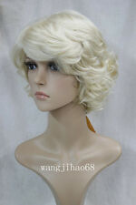 2017 women's short wig blonde curly Natural Hair wig + free wig cap