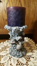 Vintage Heavy Pillar Candle Holder With Dolphins Waves Figurines Sculpture
