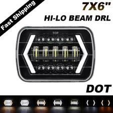 "7x6"" 5X7 LED Headlight Halo DRL Turn Signal For 1983-1997 Nissan Pickup Hardbody"