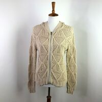 CAbi Womens Sweater Jacket Cream Tan Cable Knit Hooded Full Zip Size Medium