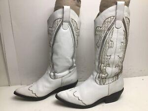 VTG WOMENS GIANNI SNIP TOE COWBOY WHITE BOOTS SIZE 6.5 B