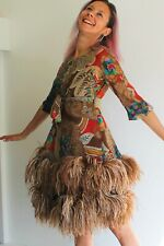 Clive Evans 60's Couture Bright Silk Print Ostrich Feather Dress Uk 6 Very Rare