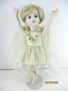 """11"""" Beautiful Unique Porcelain ballerina doll glass eyes strung jointed painted"""