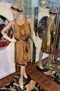 20s DRESS FLAPPER GATSBY Downton Abbey Art DECO Jewel Colors Steampunk Small