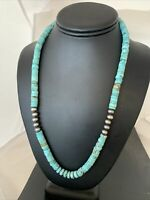 "Blue Turquoise Heishi Sterling Silver Necklace Navajo Pearls Stab 8mm 20"" 970"