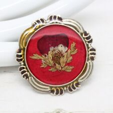 Vintage Signed Red Enamel Pressed Remembrance Poppy Flower BROOCH Pin Jewellery