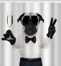 Cool Dude Pug Dog Bow Tie Sun Glasses Wine Glass Bathroom Shower Curtain