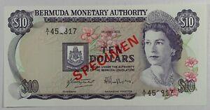 Bermuda $10 1978.04.01. Flowers & Petrel Bird P30s Series A/1 Specimen UNC