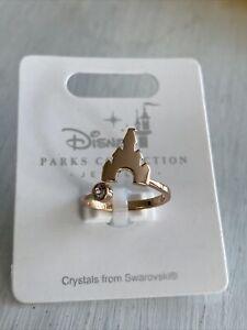Disney Parks Jewlery Rose Gold Castle Ring Swarovski Crystal New Adjustable