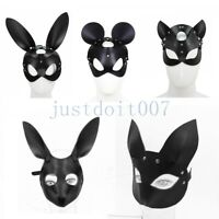 PU Leather Halloween rabbit bunny Head Animal Party Cosplay hare Mask Bondage