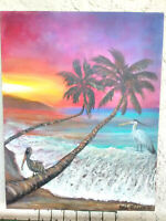 "Original Acrylic Painting11""x14"" Canvas Panel,Beach Sunset Home Decor Art"