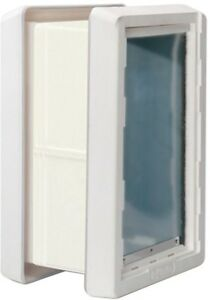 Weather Framed Pet Door With Dual Flaps with Included Kit for Wall Installation