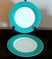 Isaac Mizrahi Dot Luxe Turquoise Dinner Plates x2 White Turquoise Rim Dots