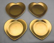 4 HEART Cocktail Plates Philippe Deshoulieres Limoges 'Carat Gold' - VGC