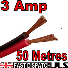 50m 3A Red + Black 12v DC 12 Volt Car Auto Cable Speaker Wire Figure 8 50 metre