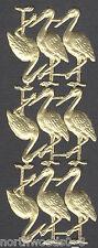 Gold Tropical Pelican Flamingo Stork Birds German Paper Embossed Scrap Dresden
