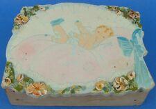 Antique Painted Wood Box Baby Enamel Flowers Nursery Ooak