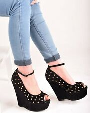 Ladies Womens Studded Peep Toe High Heel Platform Party Wedges Strap Shoes Size