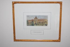 "Original 1886 framed antique wood block print ""The National Museum, Melbourne""."