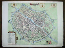 1575 Braun & Hogenberg Original Antique Map City of Tournai or Doornik, Belgium