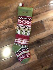 New Pottery Barn Kids Knit Fair Isle Snowman Green Christmas Stocking Mono Ariel
