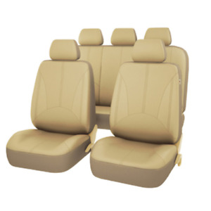 9x Universal 5-Seat Car Standard PU Leather Seat Covers Cushion Front+Rear Beige