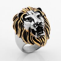 New Super Cool 316L Stainless Steel Men's Lion King Head Biker Ring Size 8-15