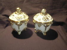 VTG Art Deco Style Cream and Gold Storage Container, Leaves and Grapes  Adorn