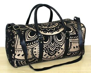 Indian Black Gold Mandala Hippie Cotton Unisex Multipurpose Bag Boho Duffle Bags